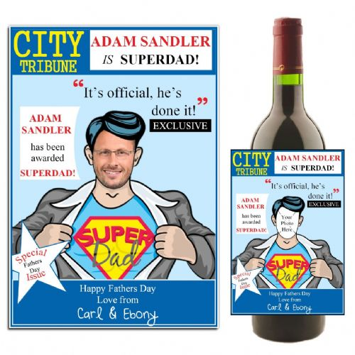Personalised Happy Fathers Day Superdad Wine / Champagne Bottle PHOTO Label N30